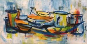 06, Frühstück auf der Terrasse,Öl,Lw, 50x100 cm