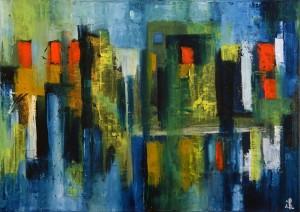 63, Blaue Büecke vor erleuchteten Fenstern,Oel,Lw,50x70cm