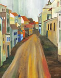 08, Gelbe Gasse mit blauem Haus, Pb, 1999