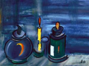 19, Stillleben mit gelber Kerze, Pb, 1999