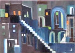 21, Freitreppe auf Blau, fw,2