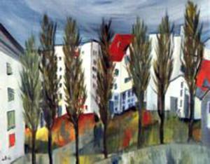 24, Innenhof mit Pappeln, Pb, 1999
