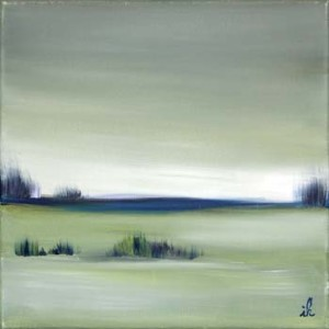 64, Blaues Gebuesch in schilfgrüner Landschaft, fw,3