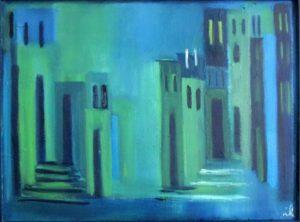 Treppenmalerei,Arch,BlauGruen,oel,K,30x40