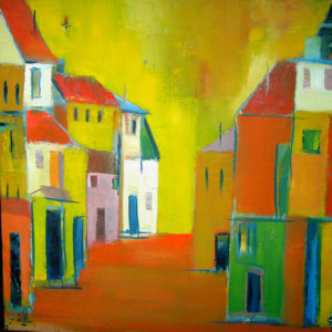 Gasse in Florenz, Quadrat, Öl auf Leinwand, 40 x 40 cm,