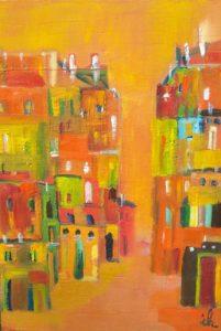Gasse,Montpelier,orange,30x40