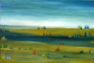Landschaft mit blauem Feld, Öl auf Leinwand, 60 x 80 cm, 2014