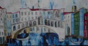Rialtobrücke, Öl auf Leinwand, 50 x 100 cm, 2014