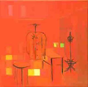 Rote Garderobe, Quadrat,Oel,Lw,40x40