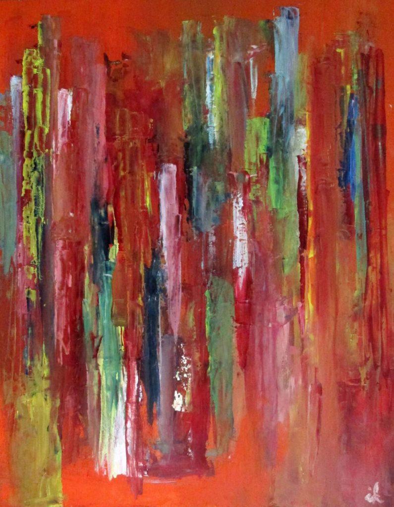 Gedanken auf Rot, Öl auf Holz, 50 x 60 cm, 2017