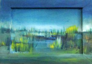 Graslandschaft, blau grün, Öl auf Karton und Holzrahmen, 13 x 18 cm