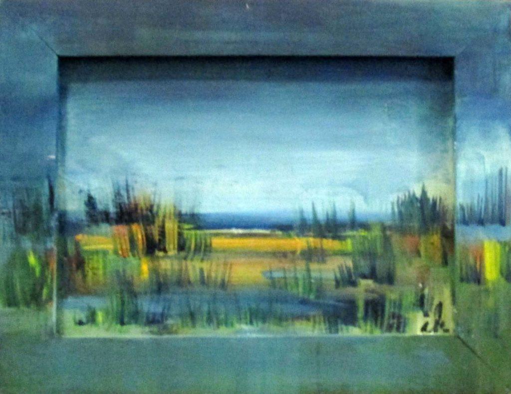 Gras,Teichlandschaft, Öl auf Karton und Holzrahmen,12 x 17 cm_2055, 2017